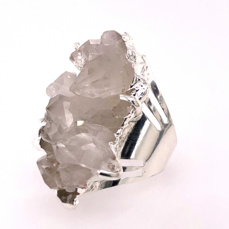Boho Crystal Raw High Grade Druzy Silver Ring BR 512