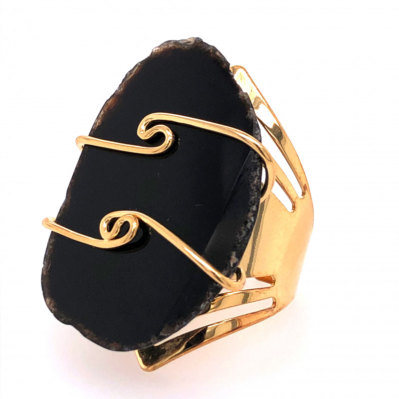 Dark Agate Ring  Gold Plated wire wrapped   BR 519