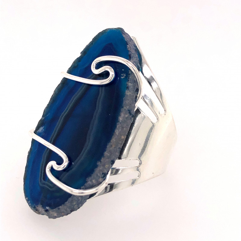 Blue Agate Ring  Silver Plated wire wrapped   BR 526