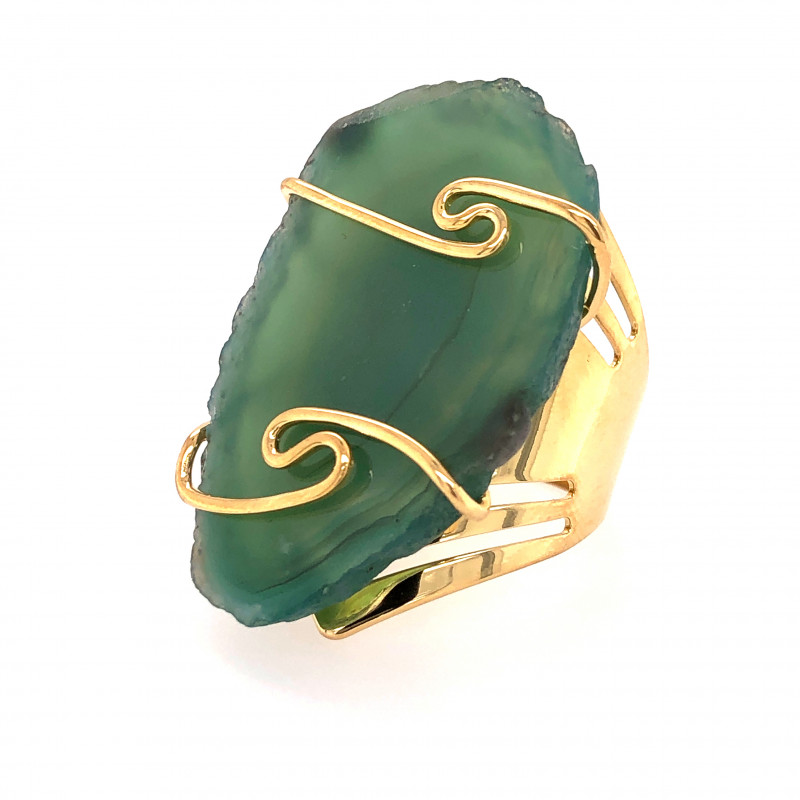 Green Agate Ring  Gold Plated wire wrapped   BR 533