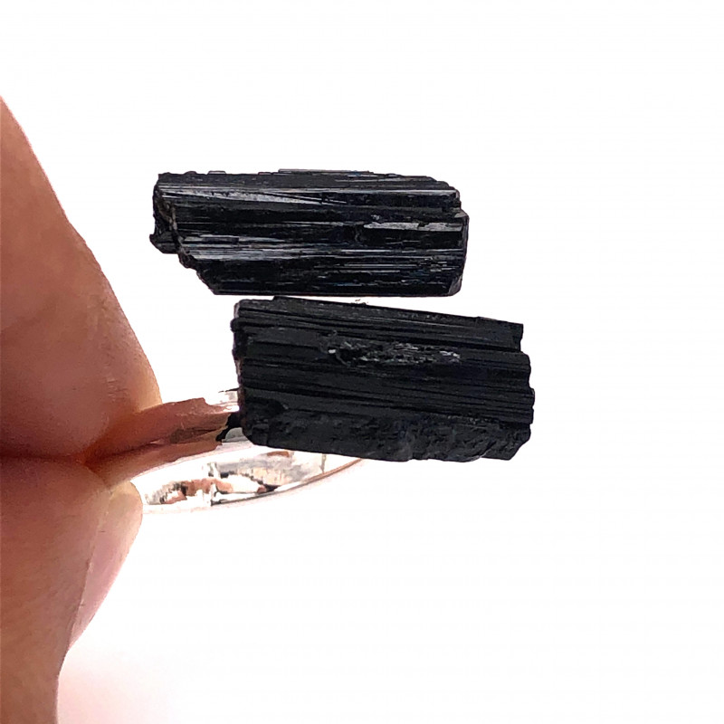Raw Spiritual black Tourmaline Double Gemstone Ring BR 552