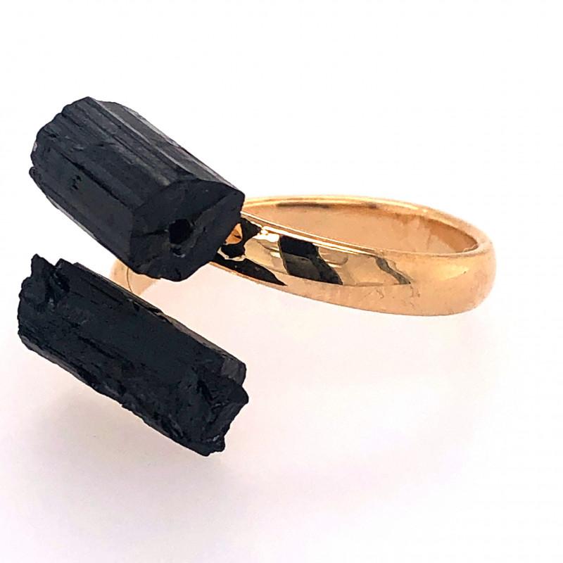 Raw Spiritual black Tourmaline Double Gemstone Ring BR 556