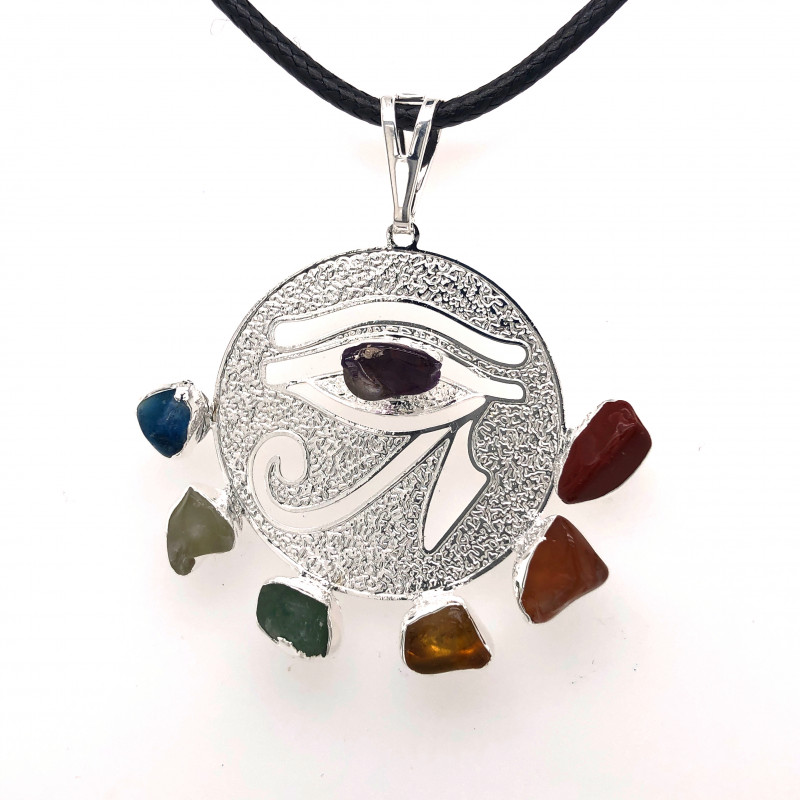 Egyptian Eye Seven Chakra - Natural Stones Pendant & Black Chain  BR 561