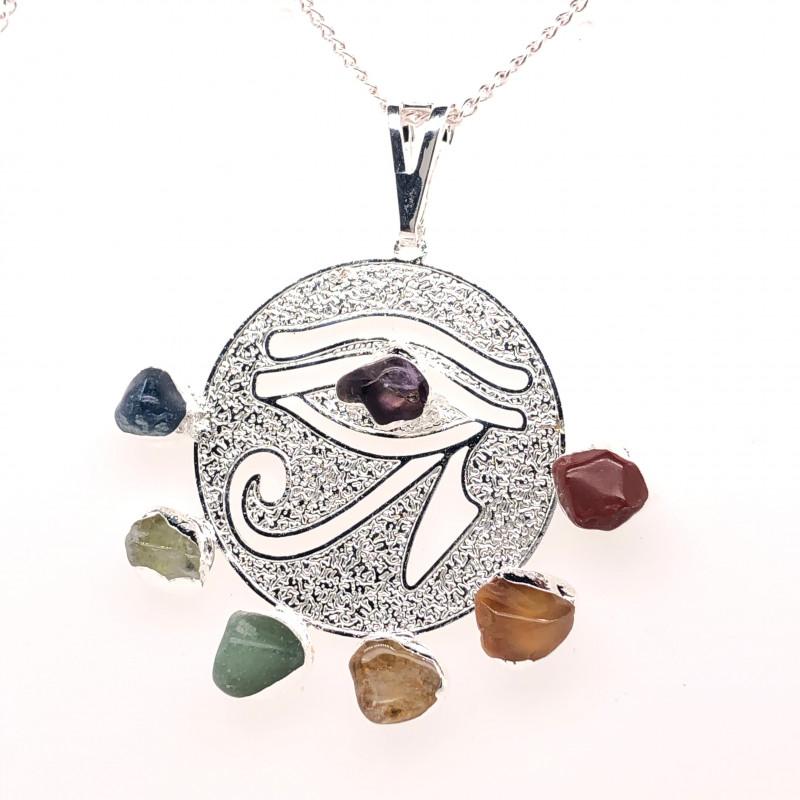 Egyptian Eye Seven Chakra - Natural Stones Pendant & Silver Chain BR 565