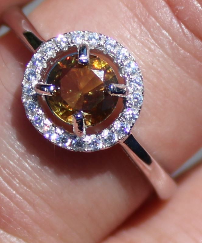 Sphene .80ct White Gold Finish Solid 925 Sterling Silver Solitaire Ring