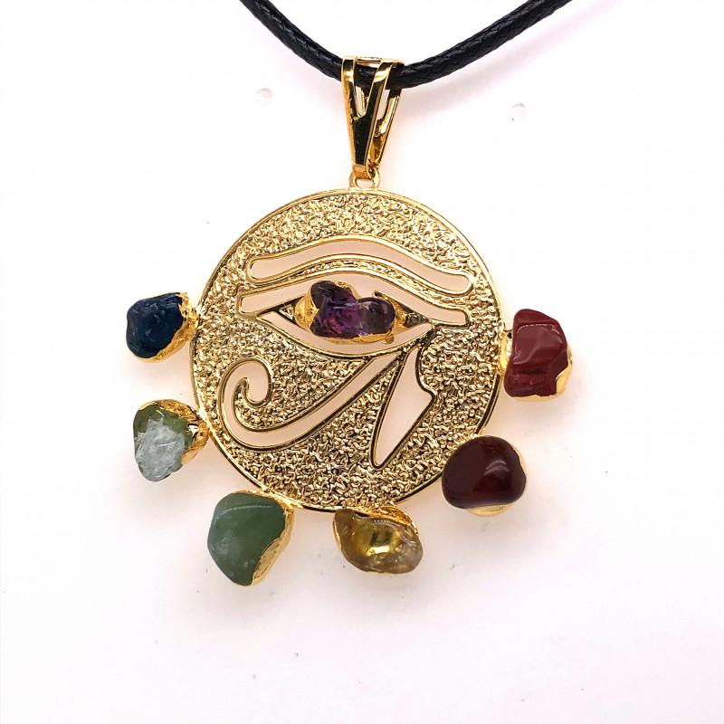 Egyptian Eye Seven Chakra - Natural Stones Pendant & Black Chain BR 569