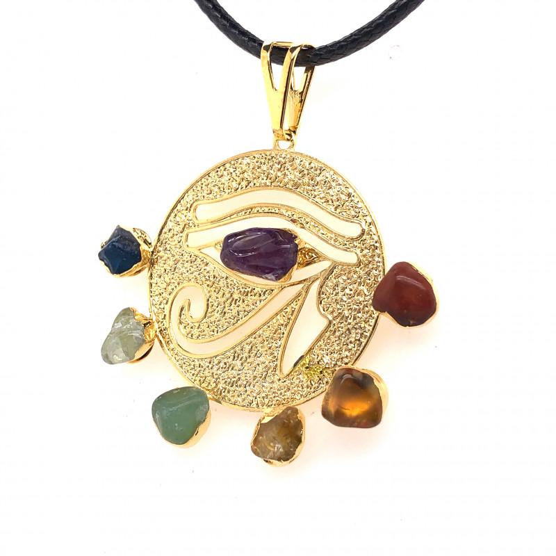 Egyptian Eye Seven Chakra - Natural Stones Pendant & Black Chain BR 570