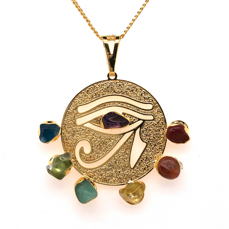 Egyptian Eye Seven Chakra - Natural Stones Pendant & Gold Chain BR 571