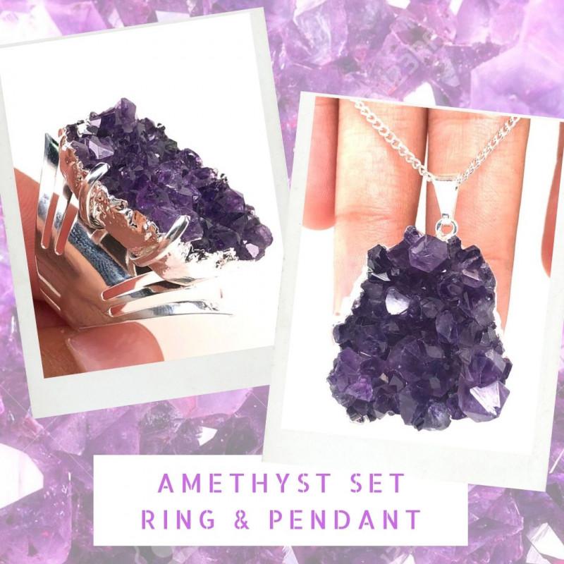 Amethyst Raw  Set - High Grade Druzy Silver Ring & Pendant   BR 577
