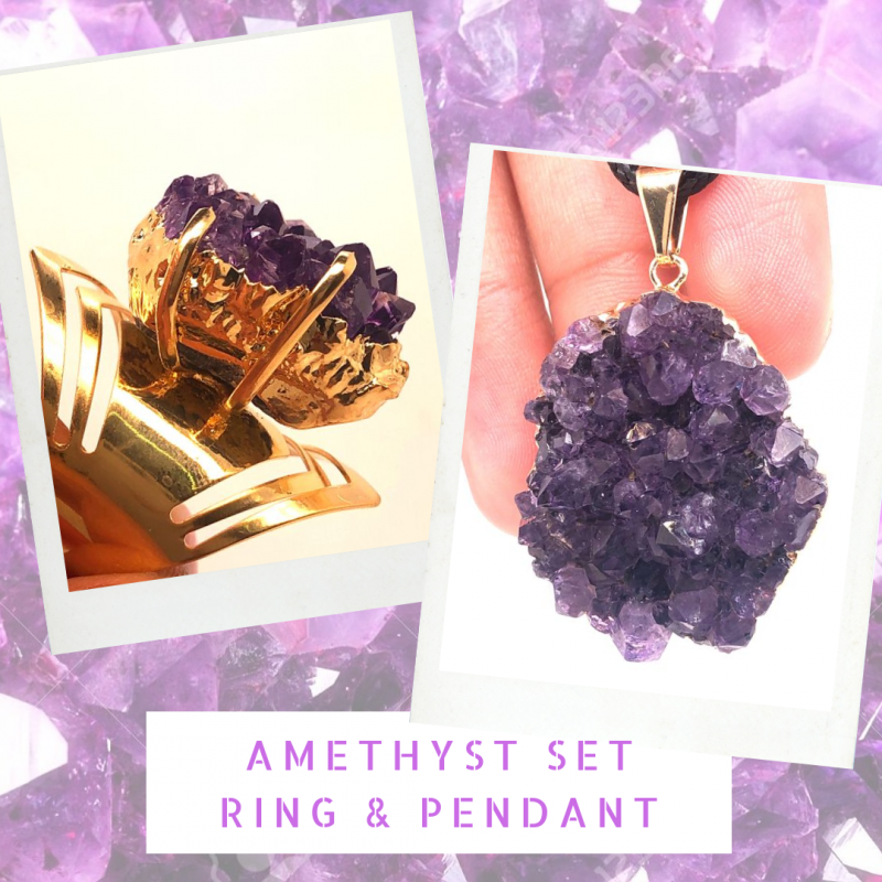 Amethyst Raw  Set - High Grade Druzy Gold Ring & Pendant   BR 579