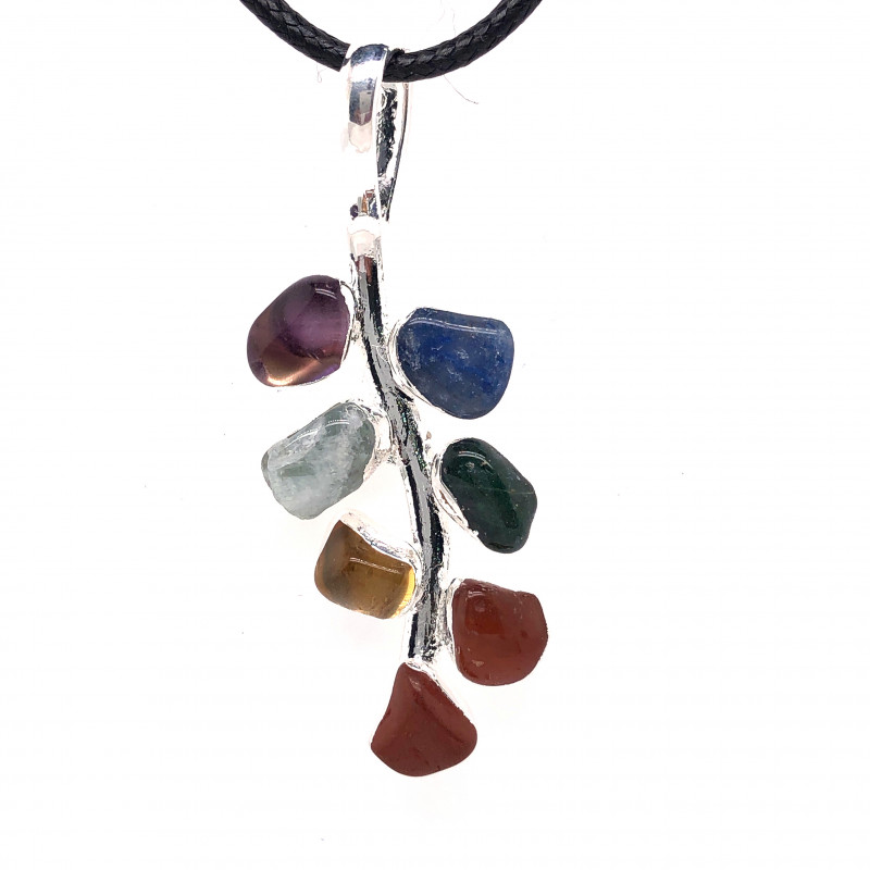 Leaf Seven Chakra - Natural Stones Pendant & Black Chain BR 584