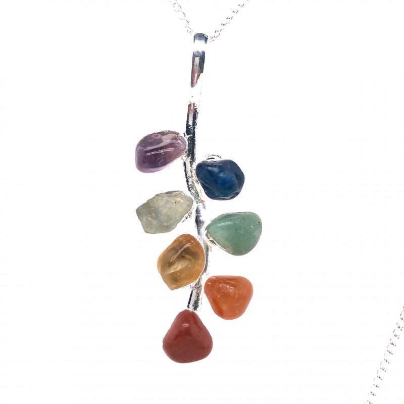 Leaf Seven Chakra - Natural Stones Pendant & Silver Chain BR 586