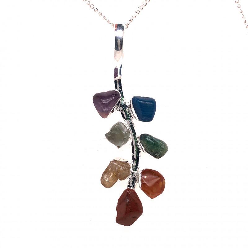 Leaf Seven Chakra - Natural Stones Pendant & Silver Chain BR 587