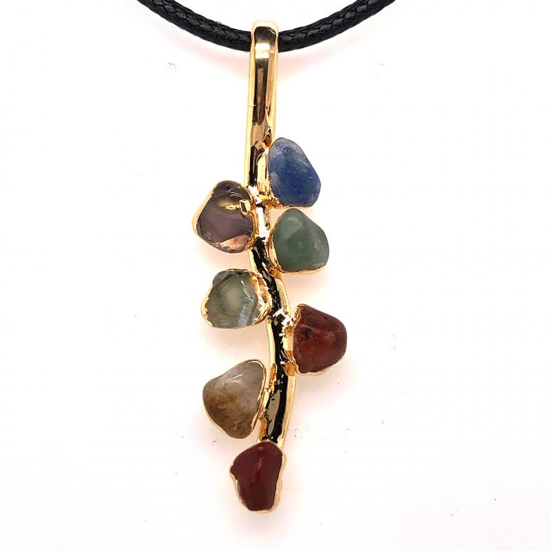 Leaf Seven Chakra - Natural Stones Pendant & Black Chain BR 591