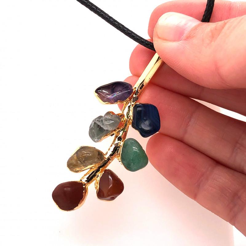 Leaf Seven Chakra - Natural Stones Pendant & Black Chain BR 592
