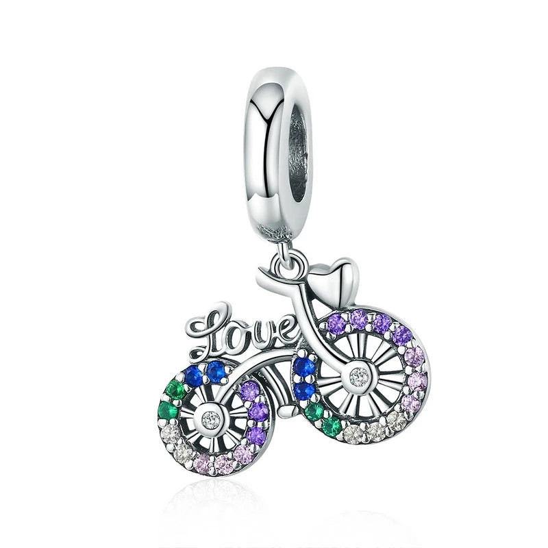 8.80 Ct 925 Sterling Silver Crystal Bike Bicycle Shape Pendant Charms fit O
