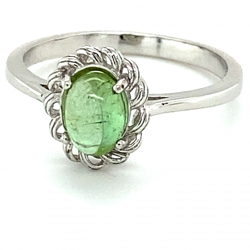Green Tourmaline 1.76ct Solid 925 Sterling Silver Rhodium Finish Solitaire
