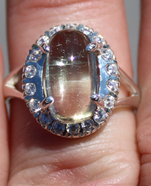 Watermelon Tourmaline 4.11ct White Gold Finish Solid 925 Sterling Silver So