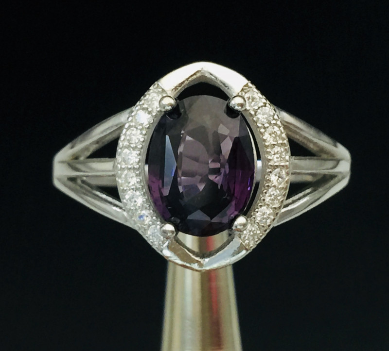 Natural purpal  Spinel 2.00 ct Transparent  white Rhodium 925 Sterling silv