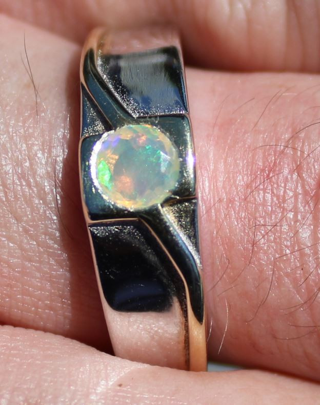 White Opal .35ct Solid 925 Sterling Silver Rhodium Finish Solitaire Ring