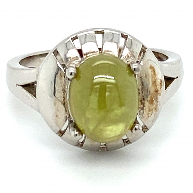 Green Sphene 3.96ct Solid 925 Sterling Silver Rhodium Finish Solitaire Ring