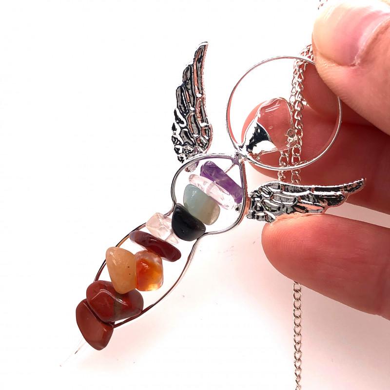 Seven Chakra - natural stones - Angel pendant & Silver Chain 603