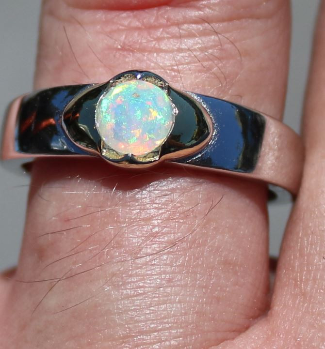 White Opal .61ct, Rhodium Ring, Solid Sterling Silver, Natural, Sourced Eth