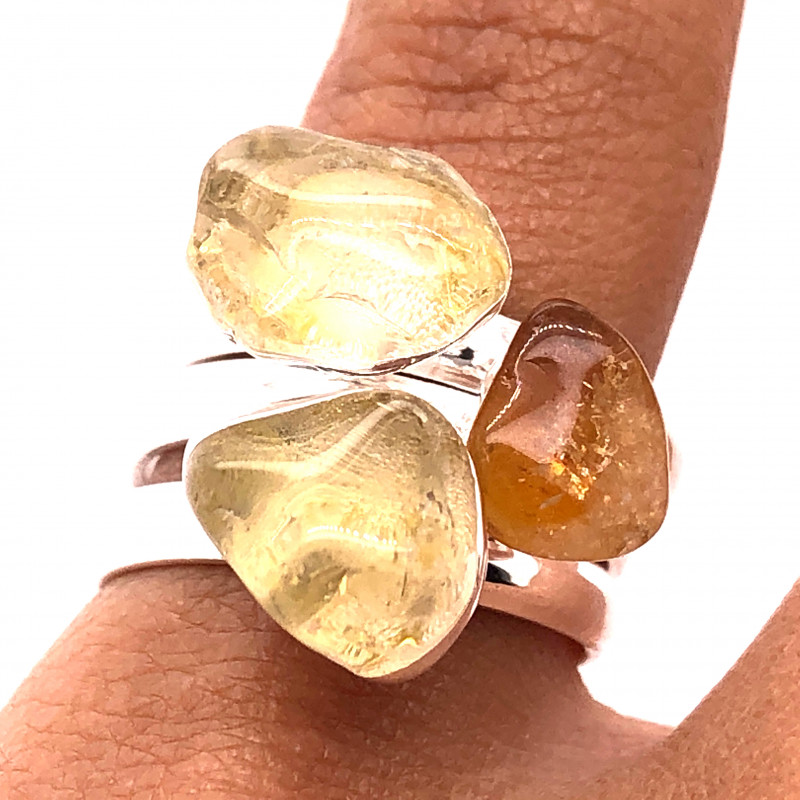 Three Raw Agate Gemstone in electroformed Silver Plated Ring BR 611