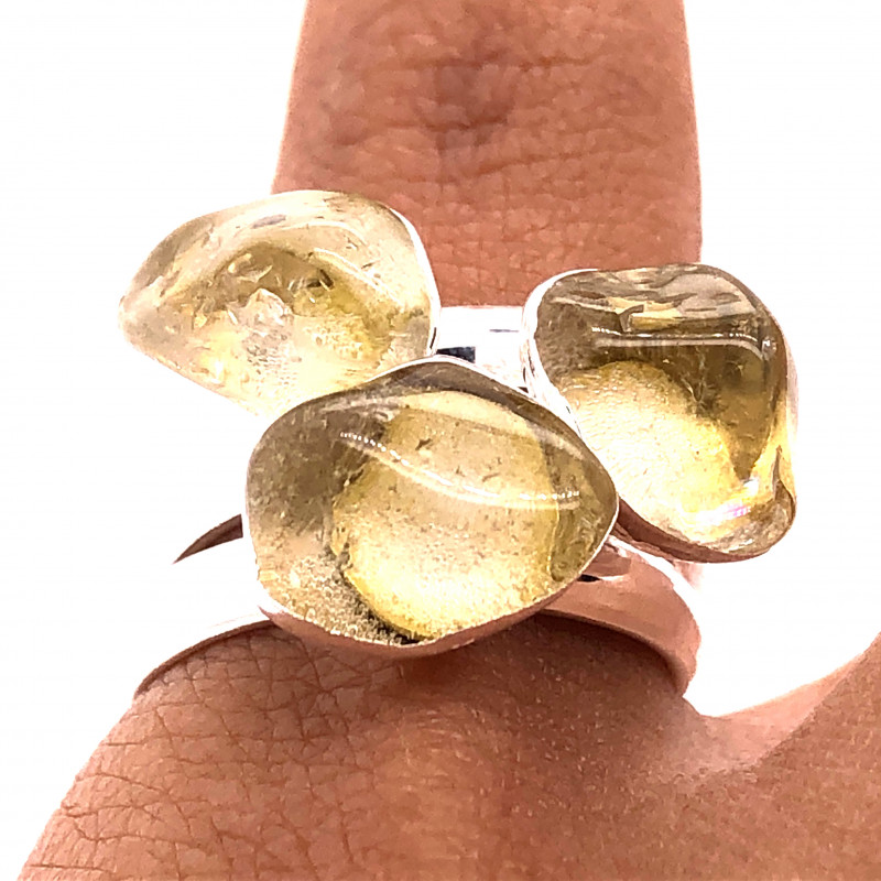 Three Raw Agate Gemstone in electroformed Silver Plated Ring BR 614
