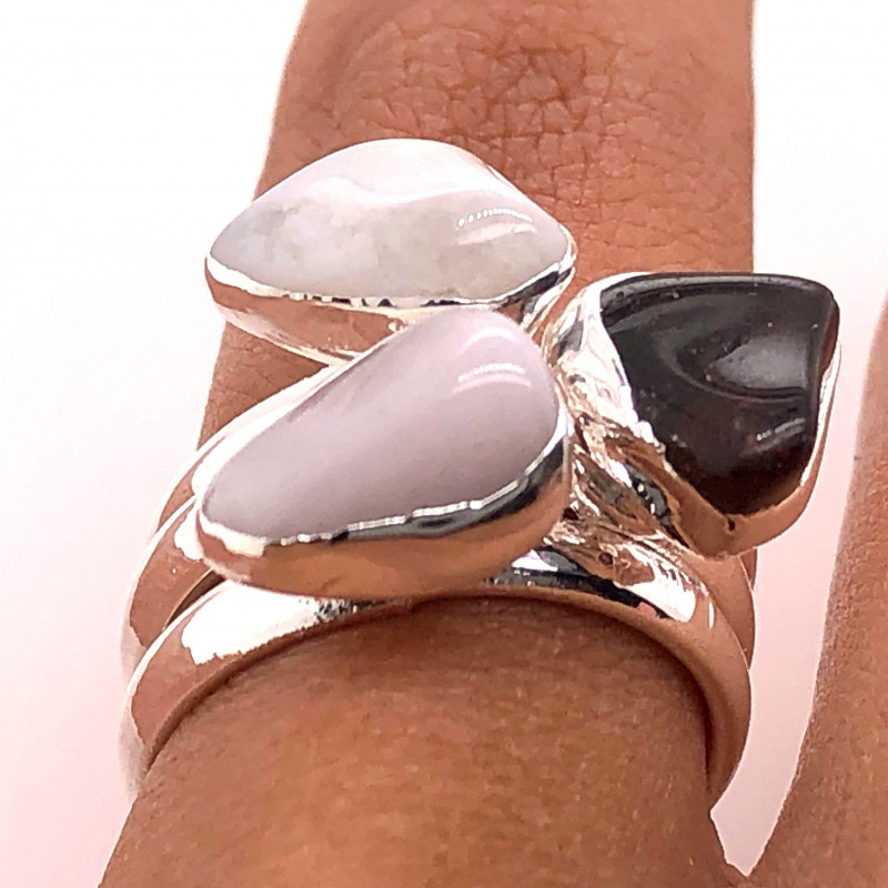 Three Raw Agate Gemstone in electroformed Silver Plated Ring BR 616