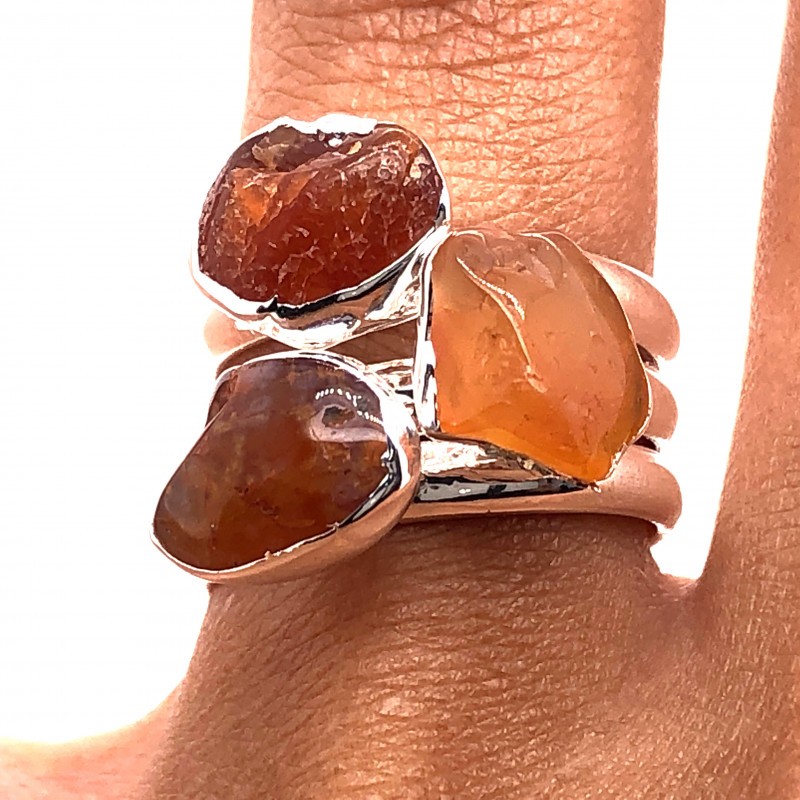 Three Raw Agate Gemstone in electroformed Silver Plated Ring BR 621