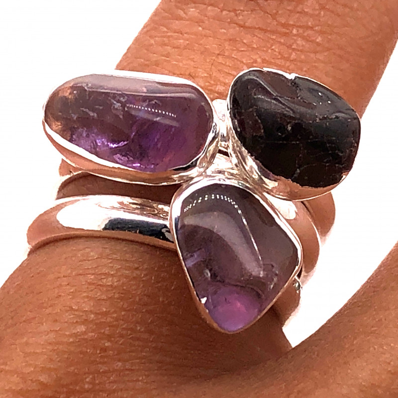 Three Raw Agate Gemstone in electroformed Silver Plated Ring BR 622
