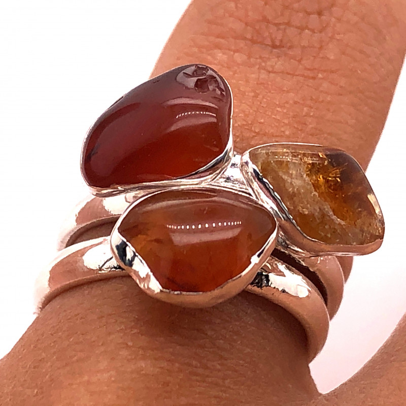 Three Raw Agate Gemstone in electroformed Silver Plated Ring BR 623
