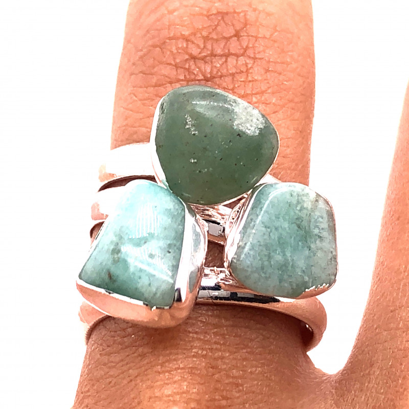 Three Raw Agate Gemstone in electroformed Silver Plated Ring BR 625