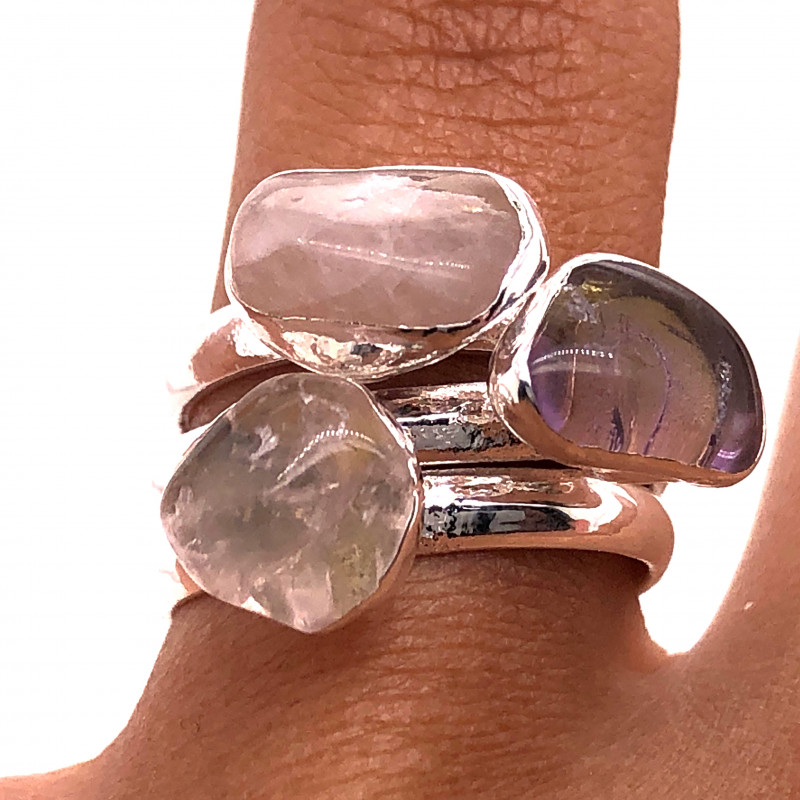 Three Raw Agate Gemstone in electroformed Silver Plated Ring BR 626