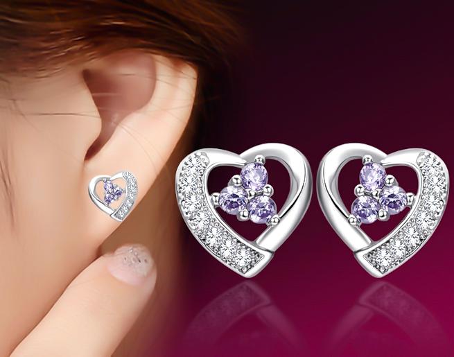 5.10 Ct Beautiful Girl Purple Heart Shape Amethyst 925 sterling silver Stud