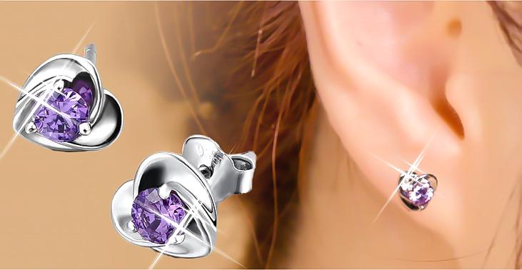 7.80 Ct  Heart  Amethyst Real 925 Sterling Silver Stud Earrings