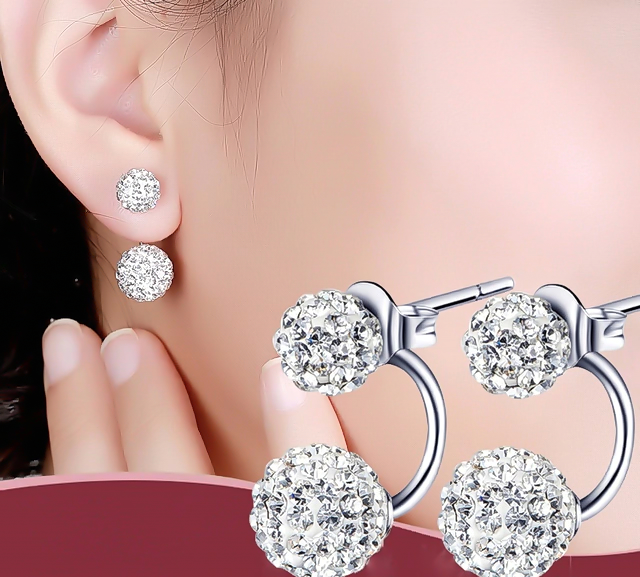 10.10 Ct Women 's Luxury Rhinestone Crystal Ball Stud Earrings Fashion 925