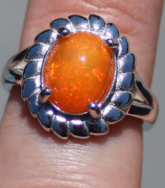 Orange Opal 2.52ct Solid 925 Sterling Silver Rhodium Finish Solitaire Ring