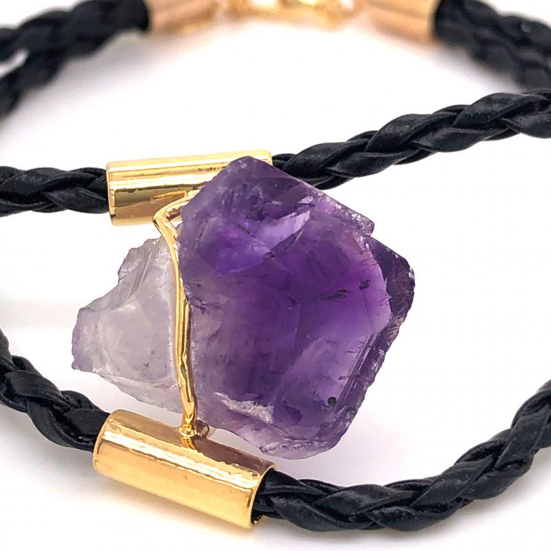 Raw Amethyst Gemstone Bracelet  BR 642