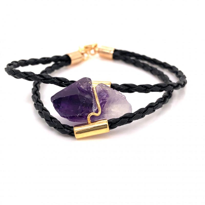 Raw Amethyst Gemstone Bracelet  BR 645