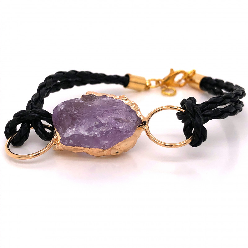 Raw Amethyst Gemstone Bracelet  BR 647