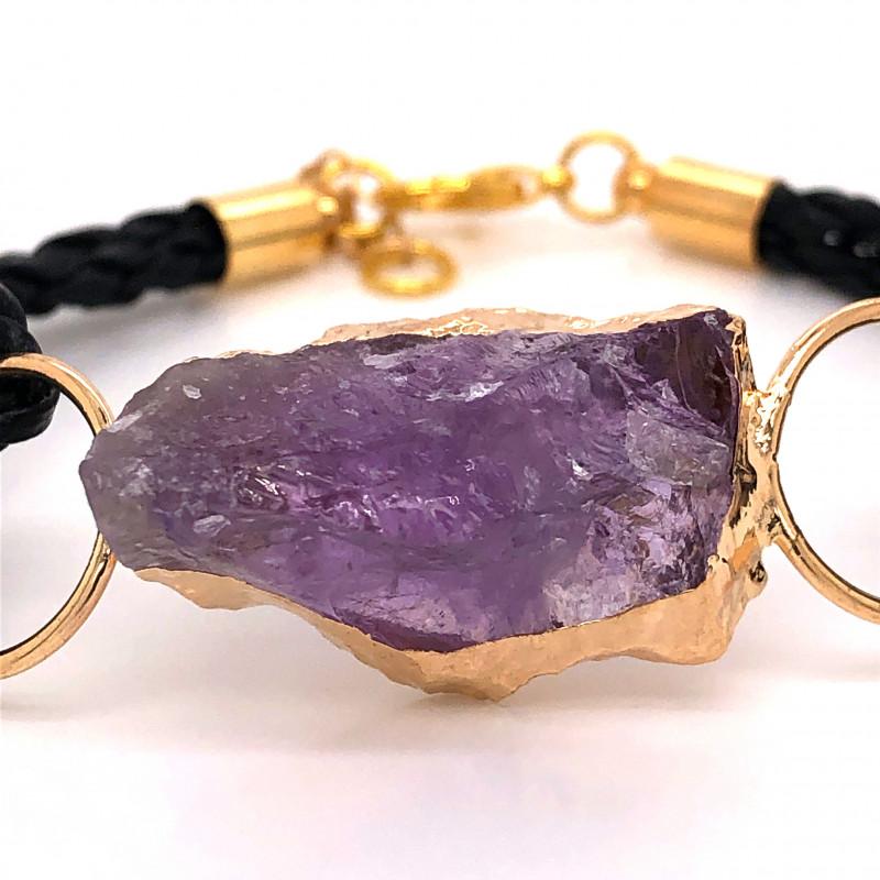 Raw Amethyst Gemstone Bracelet  BR 648