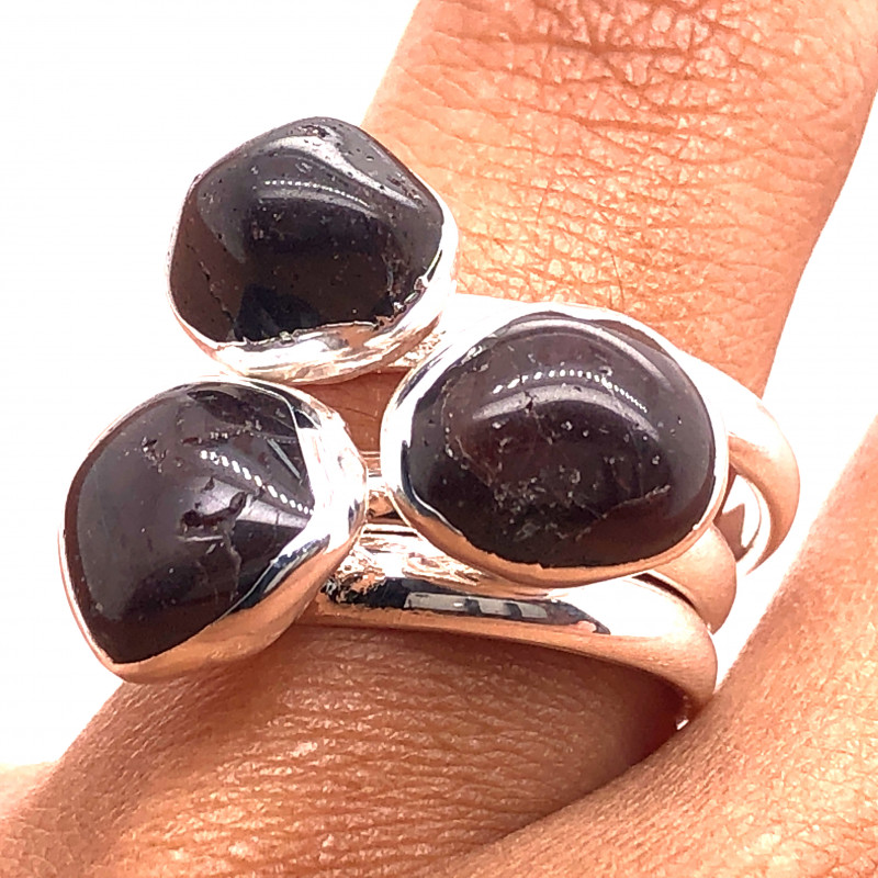 Three Raw Agate Gemstone in electroformed Silver Plated Ring BR 651
