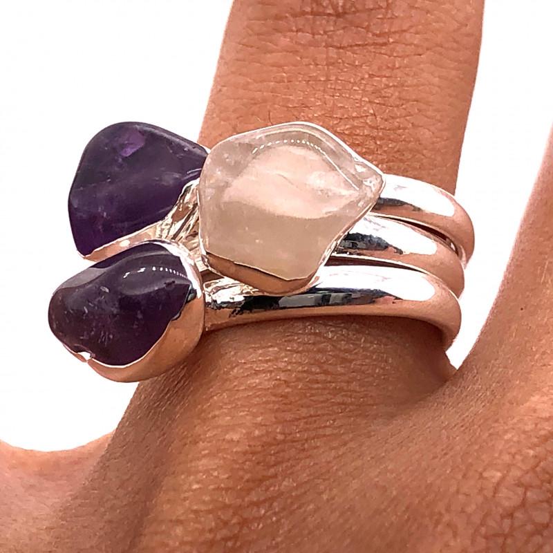 Three Raw Agate Gemstone in electroformed Silver Plated Ring BR 652