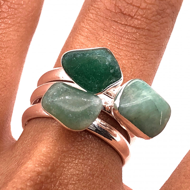 Three Raw Agate Gemstone in electroformed Silver Plated Ring BR 653