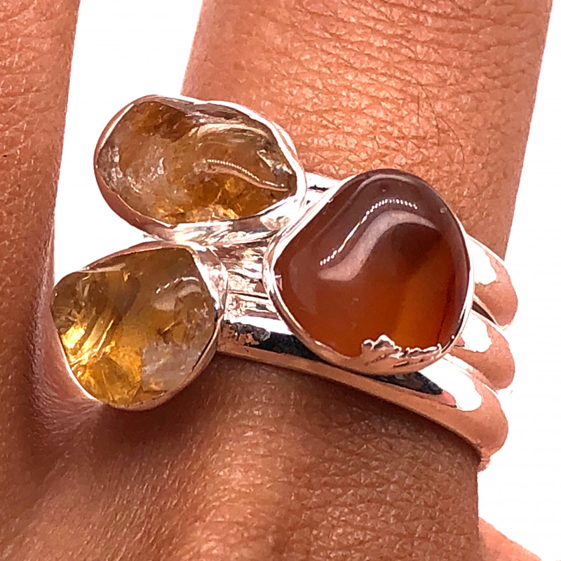Three Raw Agate Gemstone in electroformed Silver Plated Ring BR 654