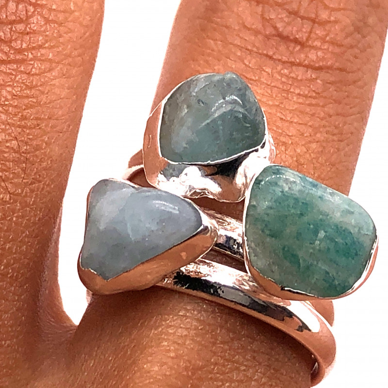 Three Raw Agate Gemstone in electroformed Silver Plated Ring BR 655