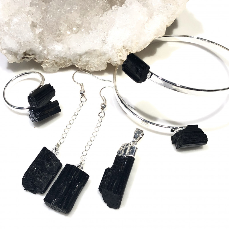 Spiritual black Tourmaline 4 pc  Jewelry Set  BR 2020