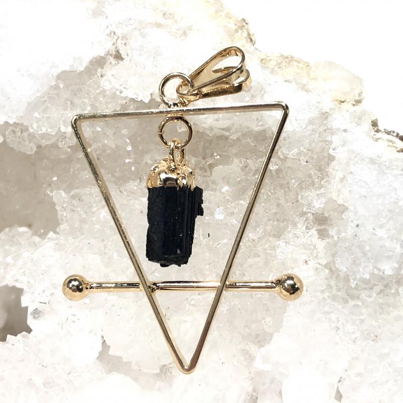 Raw Tourmaline Triangle earth symbol 3 pc set  BR 2028